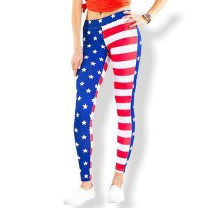 Tipsy Elves American Flag Leggings Size Medium